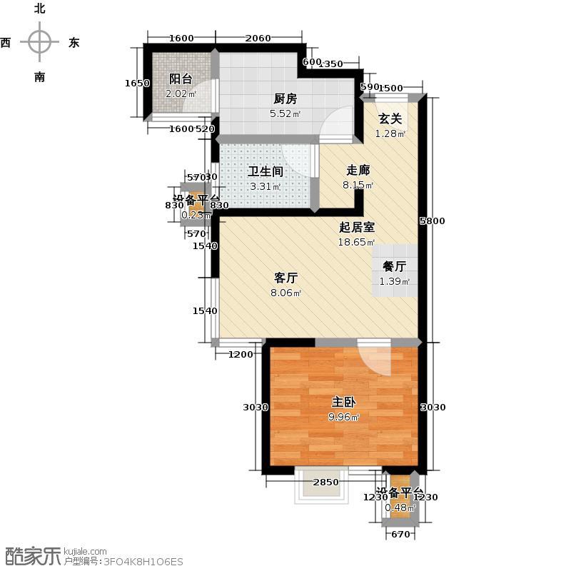 北京北一室二厅一卫户型
