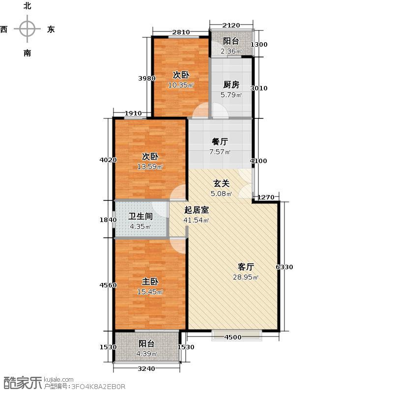 骏城120.26㎡三室两厅一卫户型