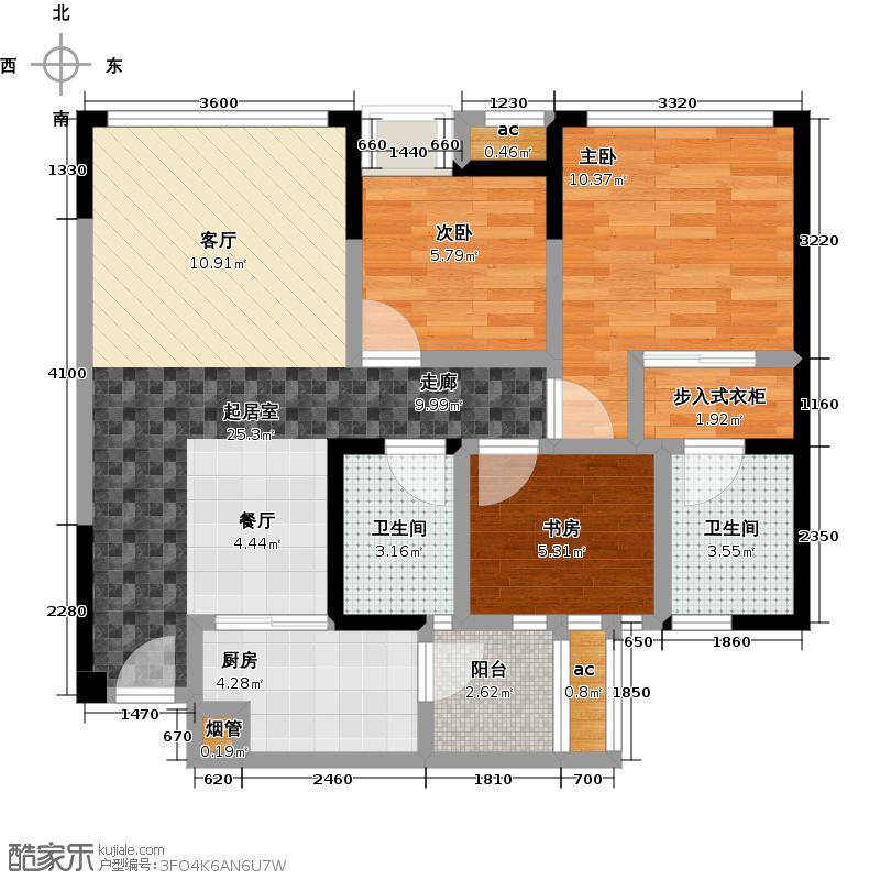 荣盛香榭兰庭83.00㎡B1/3室2厅2卫/约83㎡户型3室2厅2卫