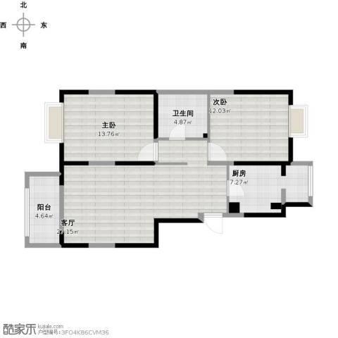 清风水苑2室1厅1卫1厨98.00㎡户型图