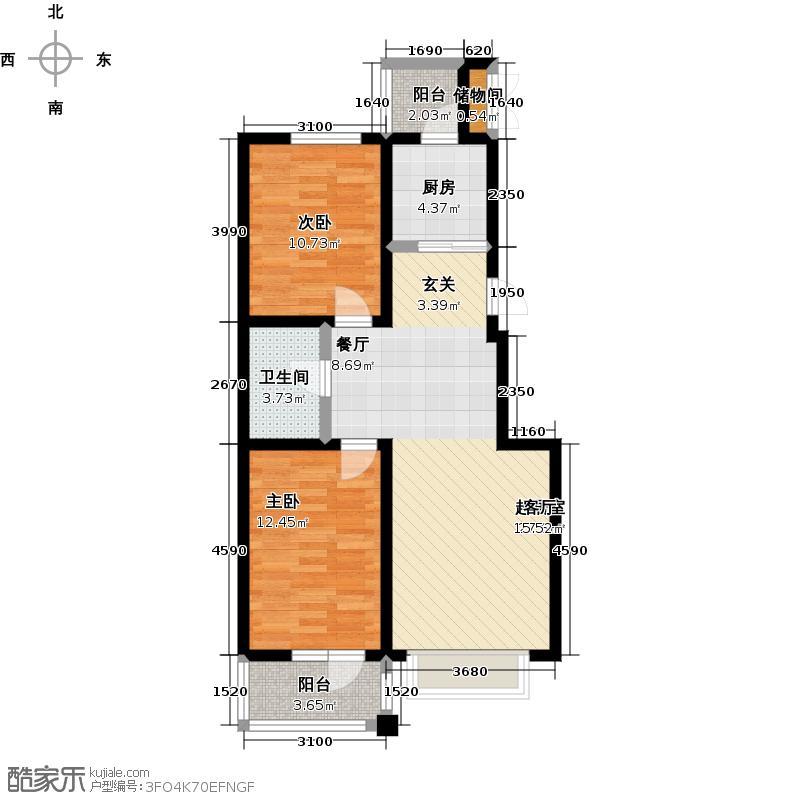 燕阳花溪地82.86㎡高层A1户型 两室两厅一卫户型2室2厅1卫