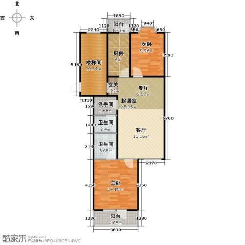 新华联锦园2室0厅2卫1厨110.00㎡户型图