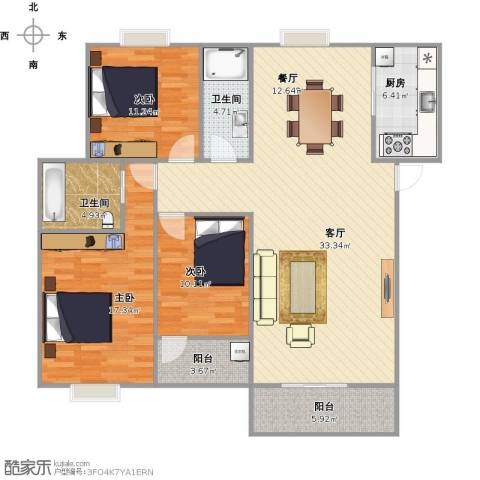 金峰小区3室1厅2卫1厨148.00㎡户型图