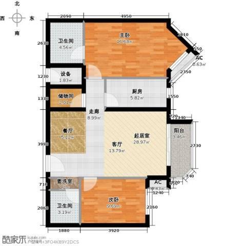 艺水芳园2室0厅2卫1厨93.00㎡户型图