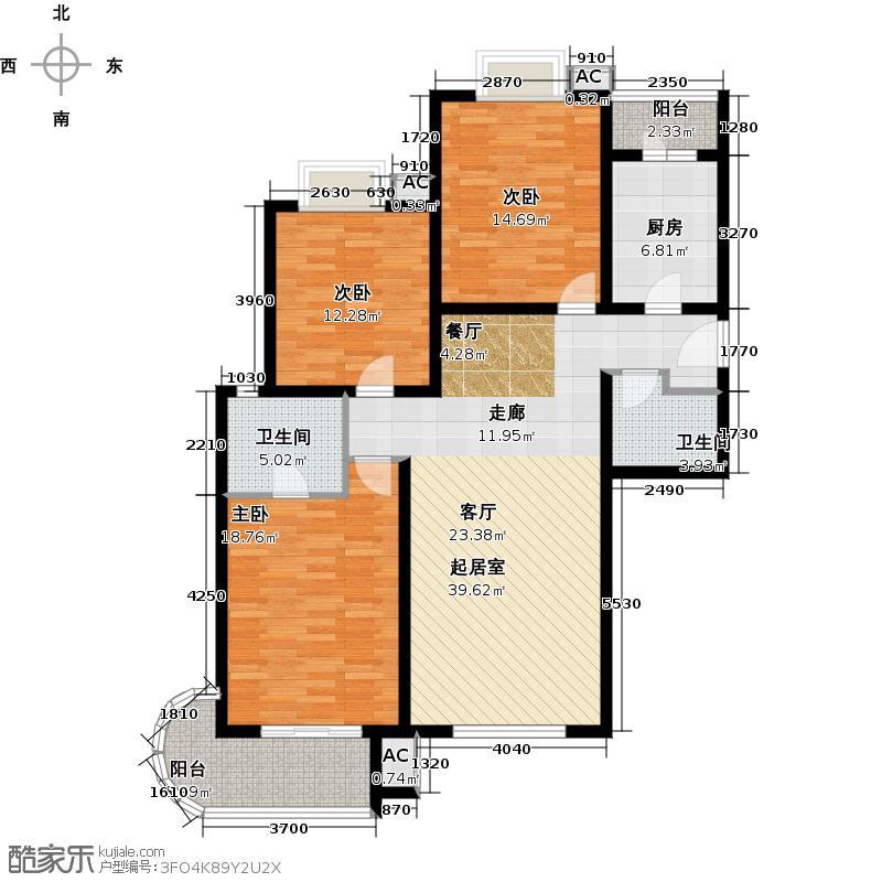 艺水芳园135.34㎡三室二厅二卫户型