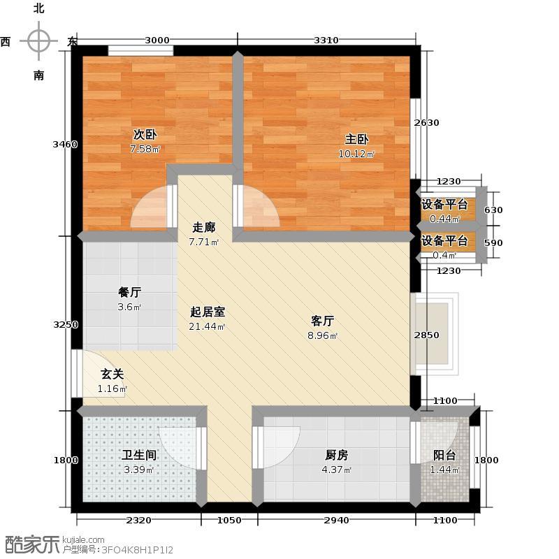 北京北二室二厅一卫户型