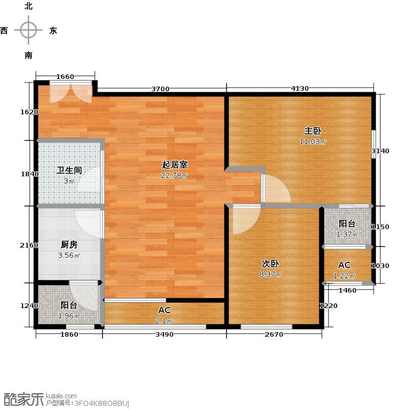 东亚望京中心A2a两室两厅一卫户型