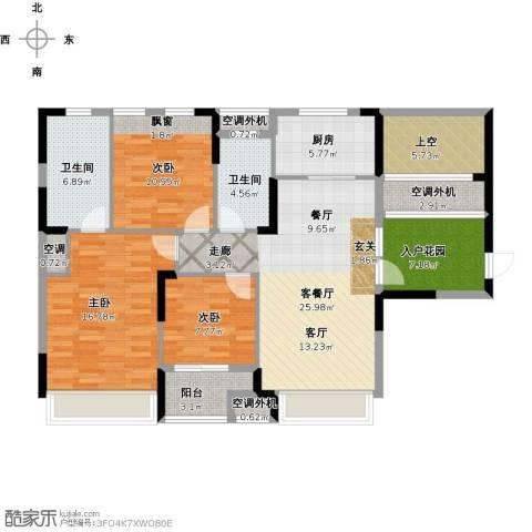 金地雄楚一号3室1厅2卫1厨143.00㎡户型图