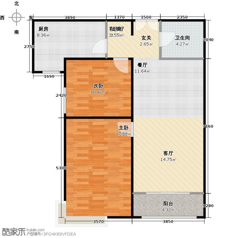 合生国际花园99.51㎡E2户型二室二厅一卫户型