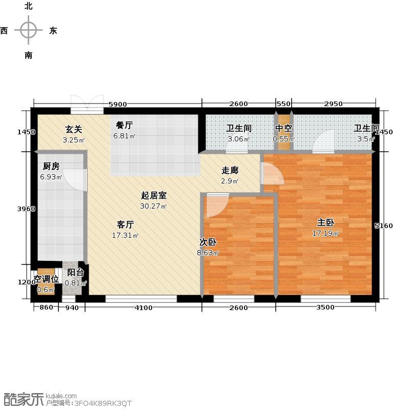 华彩国际公寓2JB1反户型二室二厅二卫户型2室2厅2卫