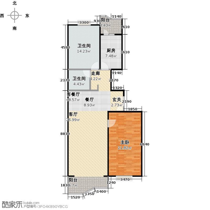 澳林春天115.96㎡二室二厅一卫户型