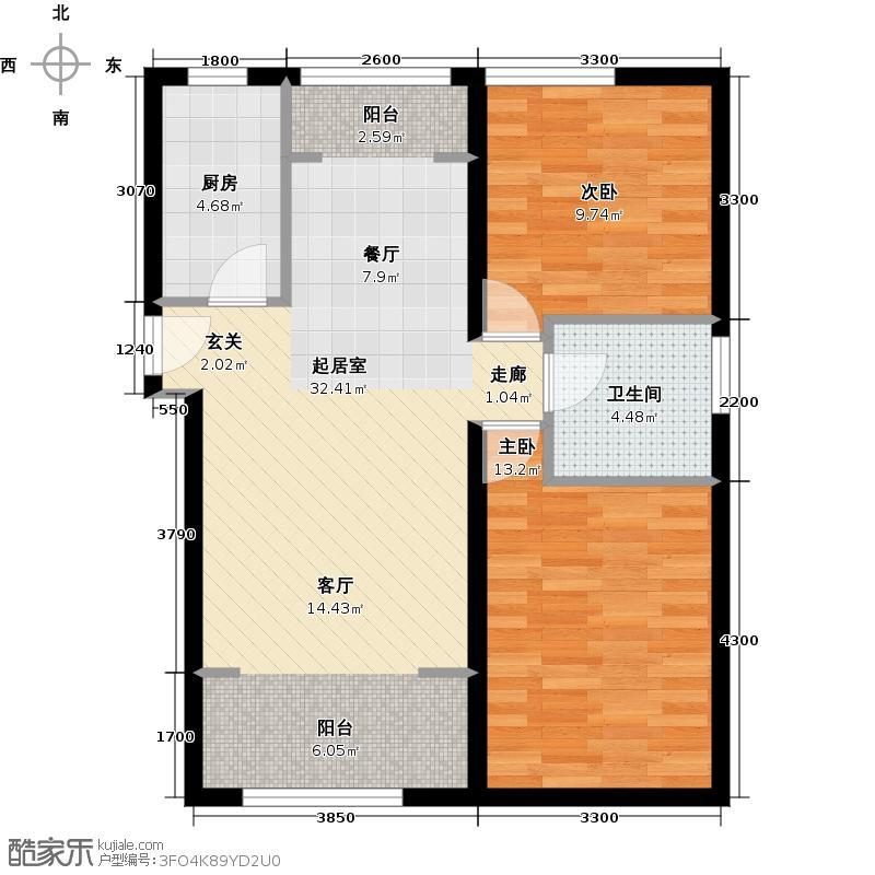 北纬40度102.00㎡D-1户型两室两厅一卫户型