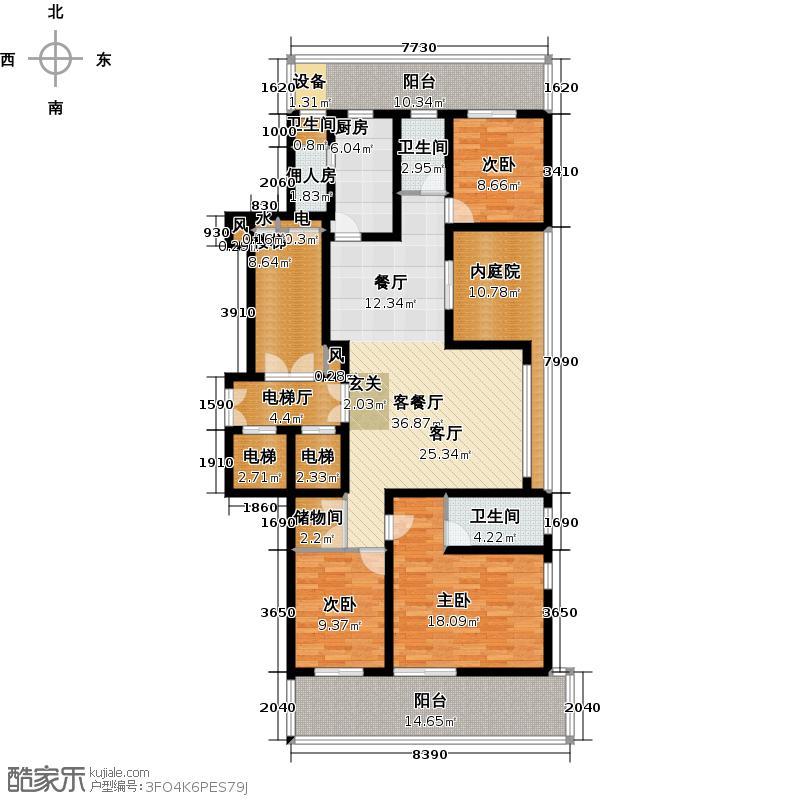 翠屏国际城172.00㎡四房二厅二卫-191平方米-9套户型