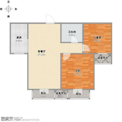 双发金玺城2室1厅1卫1厨91.00㎡户型图