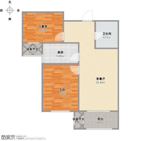 双发金玺城2室1厅1卫1厨90.00㎡户型图