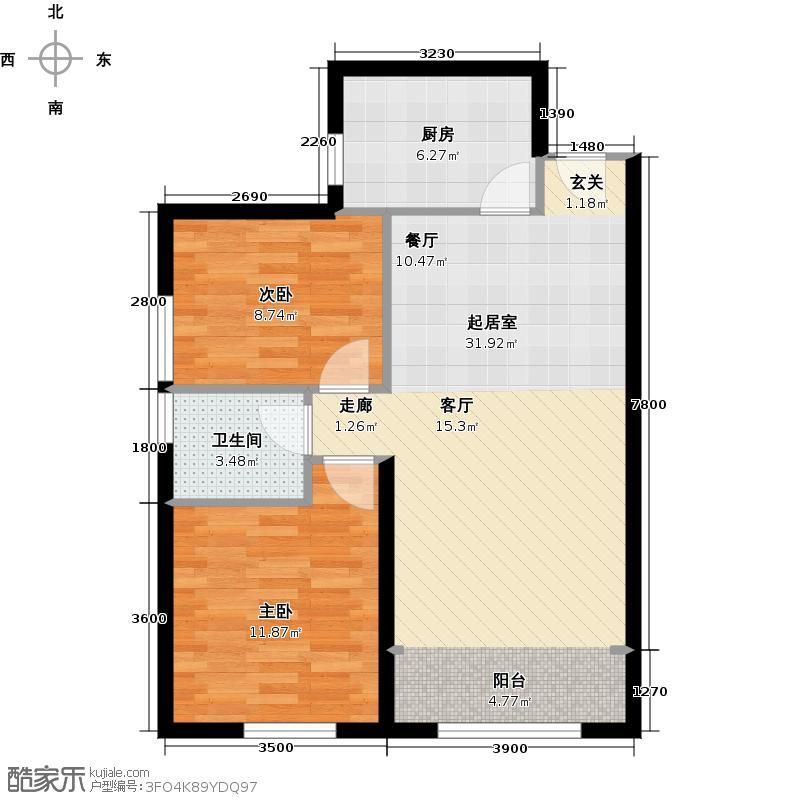 北纬40度91.00㎡F-5户型两室两厅一卫户型