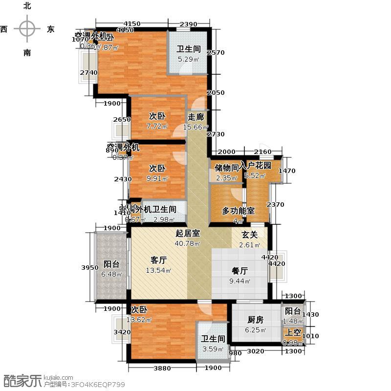 半岛城邦二期176.00㎡1栋1单元 48C 四加一房两厅四卫户型