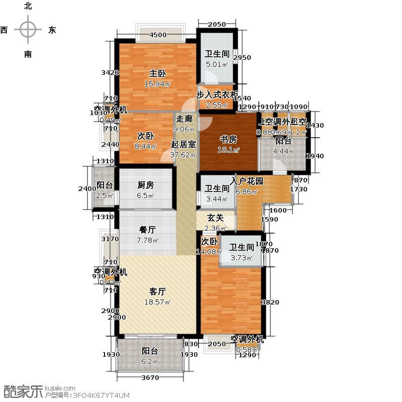 半岛城邦二期170.00㎡3栋2A+B 四加一房两厅四卫户型