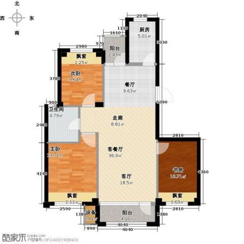 康馨壹品3室1厅1卫1厨98.00㎡户型图