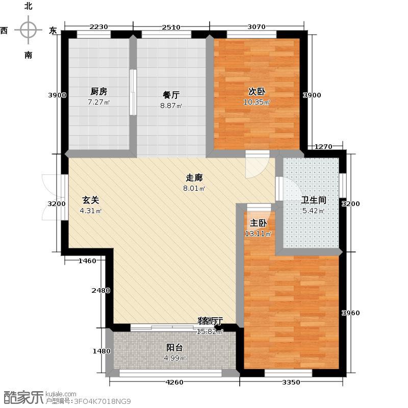 海尚明珠90.10㎡G户型二室二厅一卫 90.10平户型2室2厅1卫