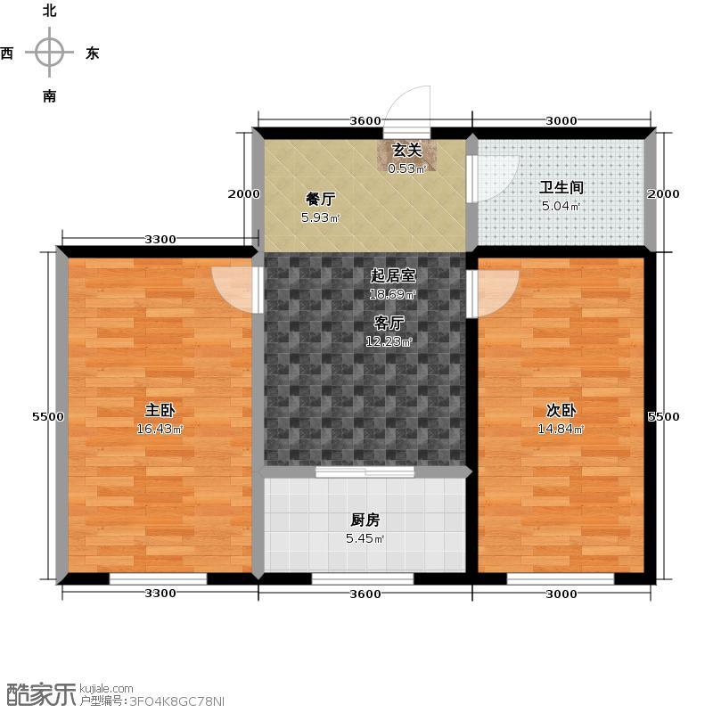 恒大世家公馆嘉寓观山两室两厅一卫面积84.56平米户型图户型2室2厅1卫