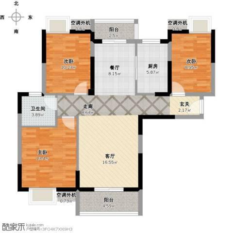 金地雄楚一号3室1厅1卫1厨121.00㎡户型图