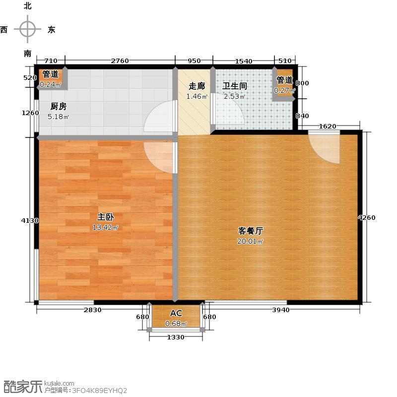 东亚上北中心60.23㎡3号楼B7户型一居户型