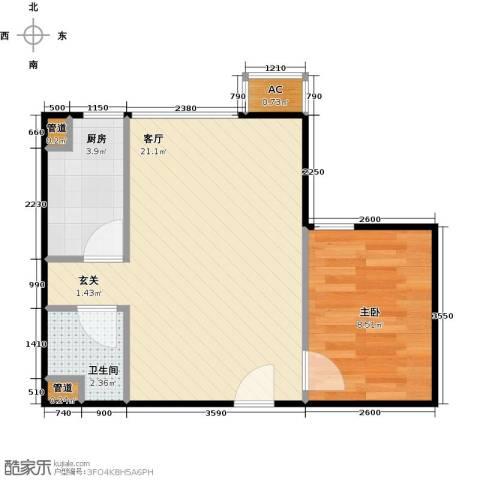东亚上北中心1室1厅1卫1厨51.00㎡户型图