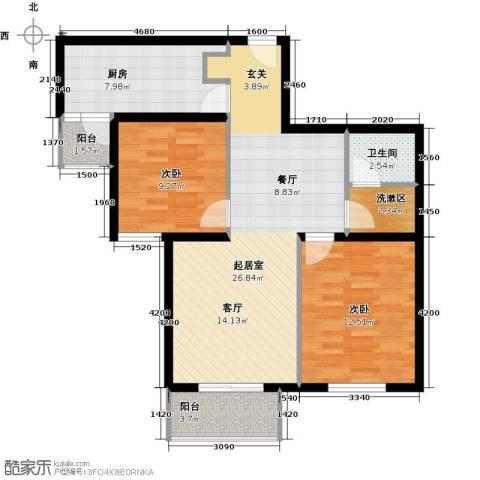 首开知语城2室0厅1卫1厨91.00㎡户型图