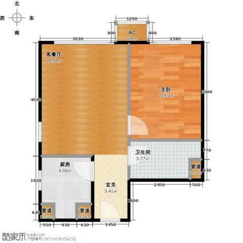 东亚上北中心1室1厅1卫1厨53.00㎡户型图