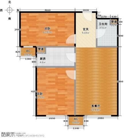 东亚上北中心2室1厅1卫1厨84.00㎡户型图