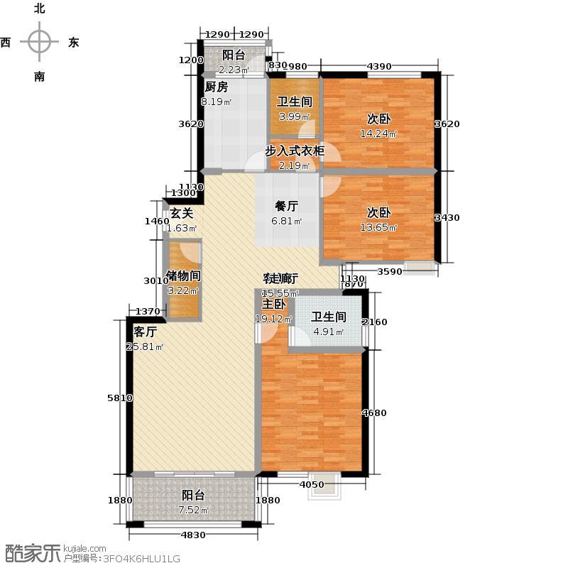 静安同乐3室2厅2卫1厨145.13㎡户型