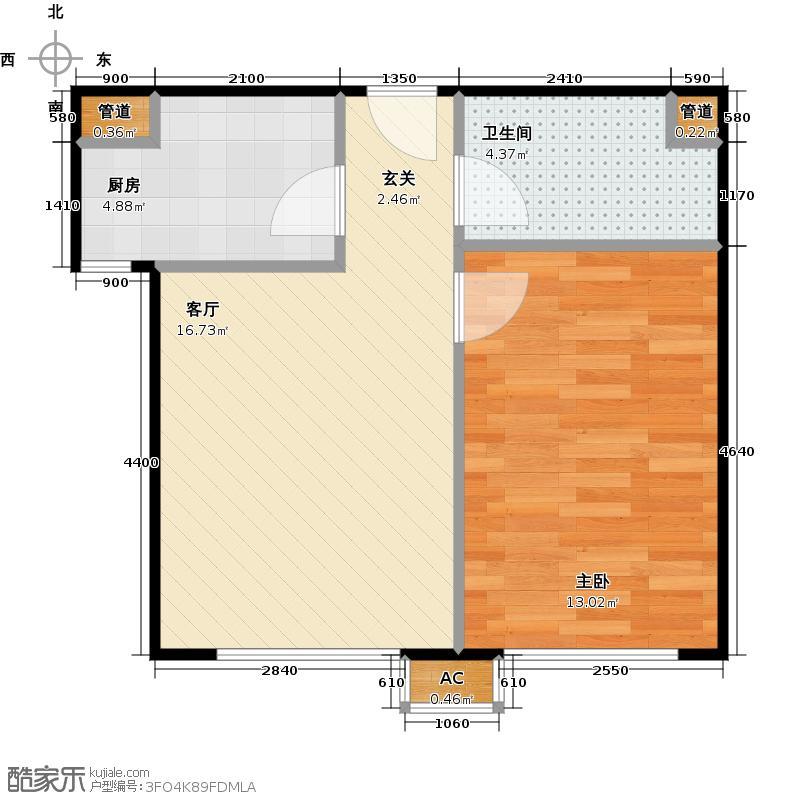 东亚上北中心57.40㎡11号楼B反户型一居户型