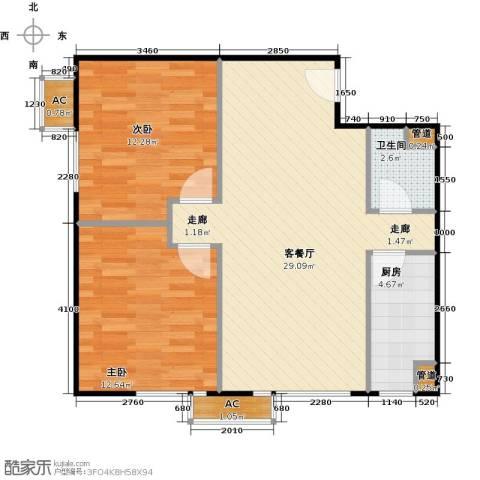 东亚上北中心2室1厅1卫1厨86.00㎡户型图