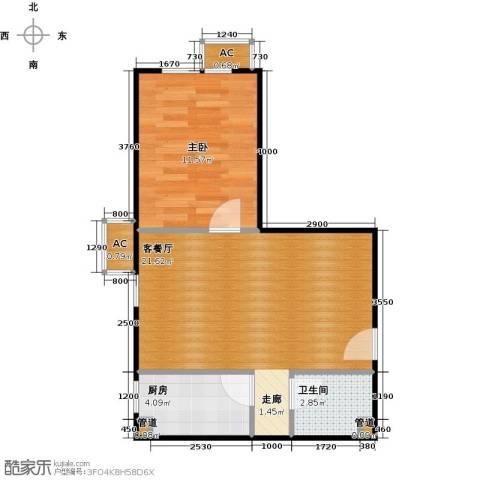 东亚上北中心1室1厅1卫1厨57.00㎡户型图