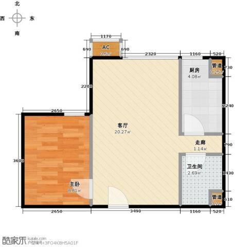 东亚上北中心1室1厅1卫1厨50.00㎡户型图