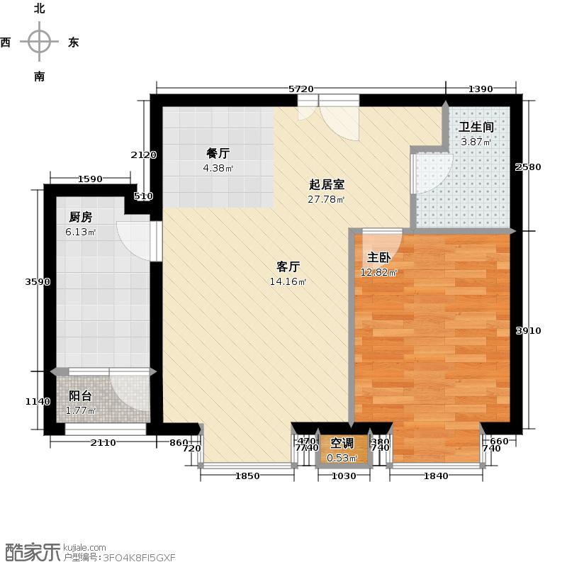 首开知语城75.00㎡b3-2户型一室二厅一卫户型