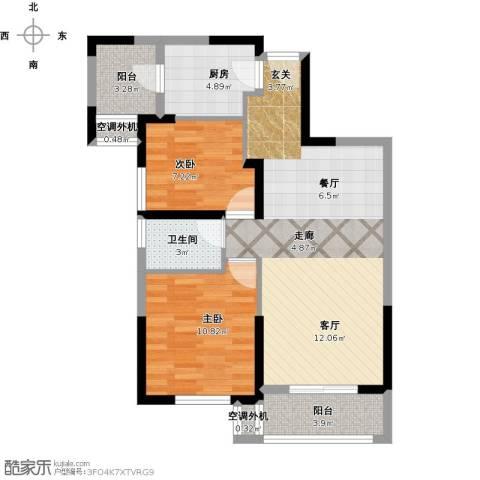 保利心语8期2室1厅1卫1厨89.00㎡户型图