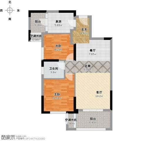 保利心语8期2室1厅1卫1厨105.00㎡户型图