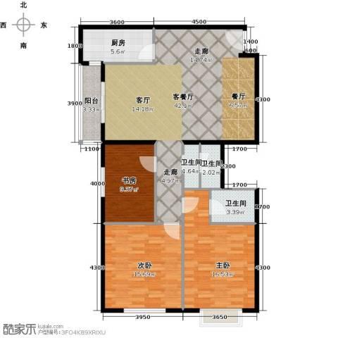 上东三角洲3室1厅2卫1厨130.00㎡户型图