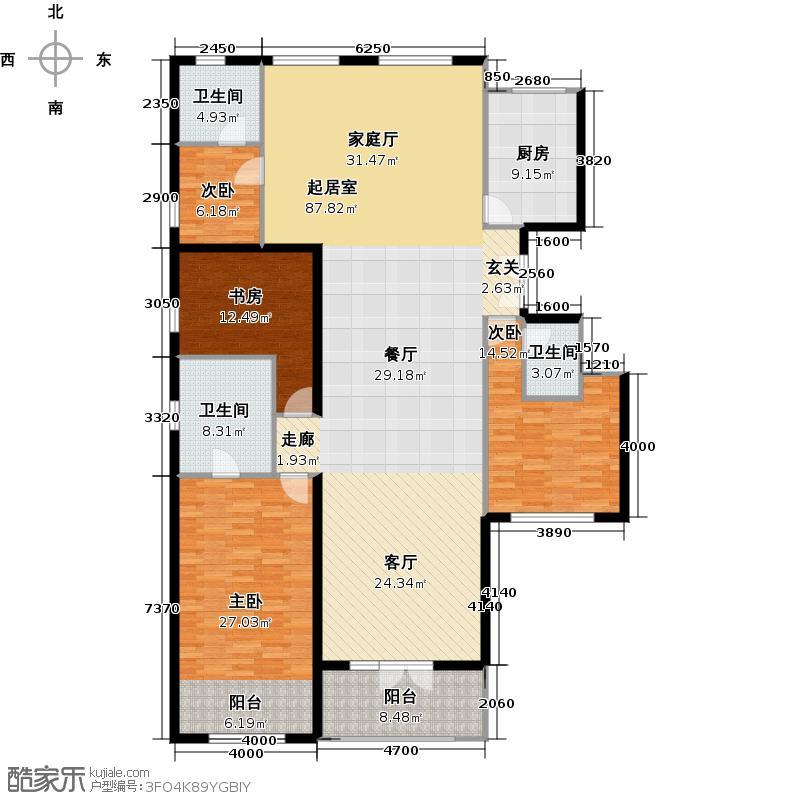 北纬40度花园洋房HE2首层三室三厅三卫户型