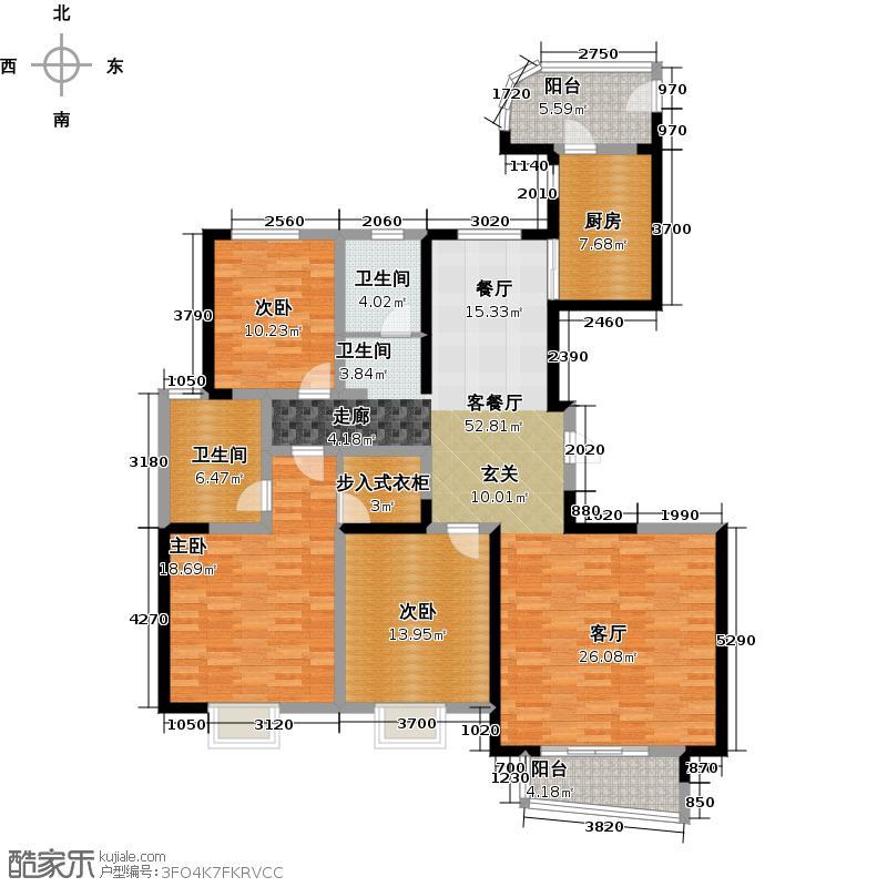 中力七里湾145.15㎡三室两厅两卫3-C户型3室2厅2卫