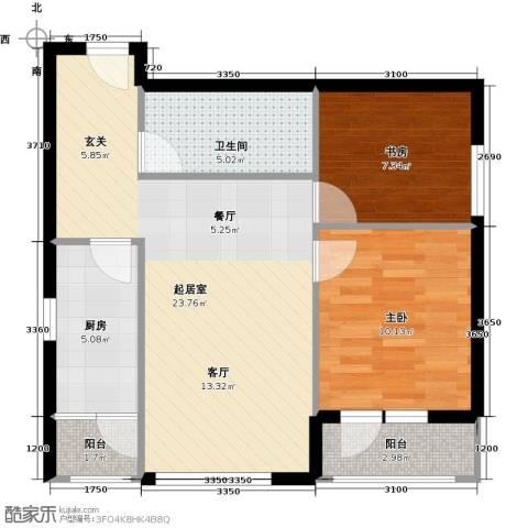 北纬40度2室0厅1卫1厨79.00㎡户型图