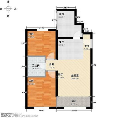 北纬40度2室0厅1卫1厨86.00㎡户型图