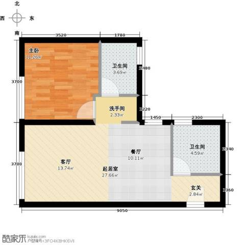 北纬40度1室0厅2卫0厨66.00㎡户型图