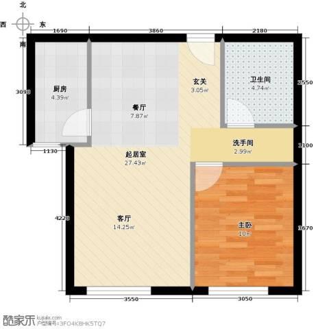 北纬40度1室0厅1卫1厨65.00㎡户型图