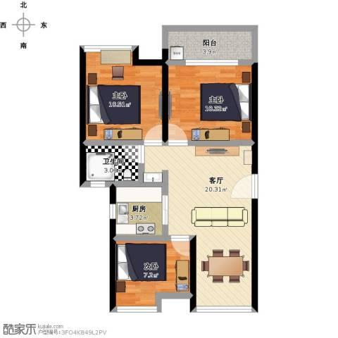 金地朗悦3室1厅1卫1厨88.00㎡户型图