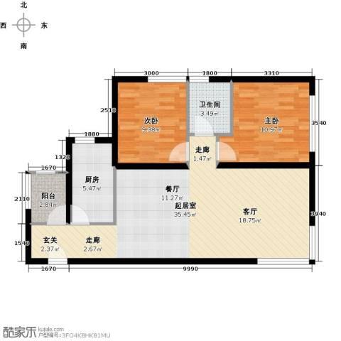 北纬40度2室0厅1卫1厨95.00㎡户型图