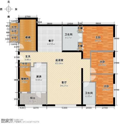 US联邦公寓3室0厅2卫1厨193.00㎡户型图