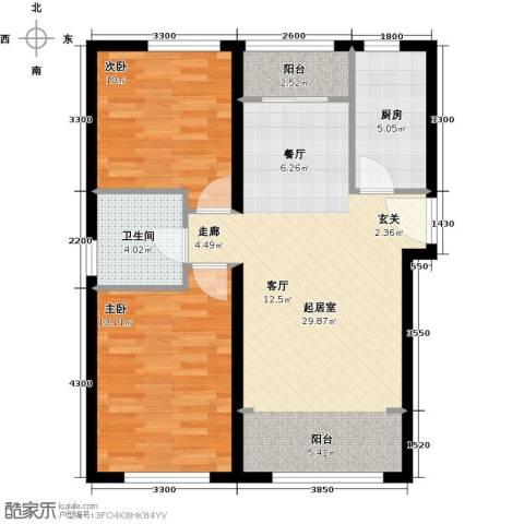 北纬40度2室0厅1卫1厨91.00㎡户型图